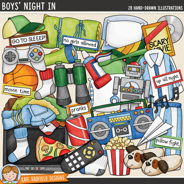 Boys' Night In digital scrapbook elements / fun slumber party and sleepover clip art! Hand-drawn doodles and illustrations for digital scrapbooking, crafting and teaching resources from Kate Hadfield Designs.