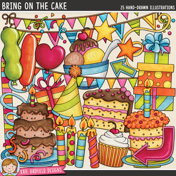 Bring on the Cake - birthday themed digital scrapbook elements / cute birthday party clip art! This pack is perfect for birthday parties and all sorts of celebrations! Hand-drawn doodles and illustrations for digital scrapbooking, crafting and teaching resources from Kate Hadfield Designs.