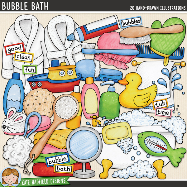 Bubble bath digital scrapbooking elements / cute bath-time clip art! Hand-drawn doodles and illustrations for digital scrapbooking, crafting and teaching resources from Kate Hadfield Designs.