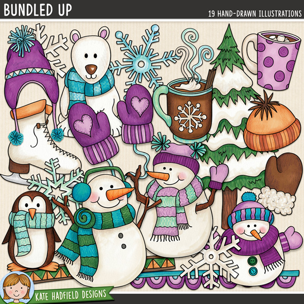 Bundled Up - Winter snow digital scrapbook elements / cute snowman clip art! Hand-drawn illustrations for digital scrapbooking, crafting and teaching resources from Kate Hadfield Designs. #digitalscrapbooking