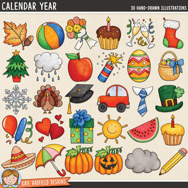Calendar Year digital scrapbook elements / cute calendar icons clip art! Hand-drawn illustrations for digital scrapbooking, crafting and teaching resources from Kate Hadfield Designs.