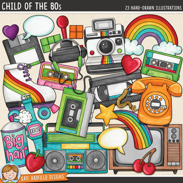 Fun 1980's digital scrapbook elements / cute 80's retro clip art! This kitsch doodle pack is perfect for recording all your memories of the 1980s!  Hand-drawn doodles and illustrations for digital scrapbooking, crafting and teaching resources from Kate Hadfield Designs.