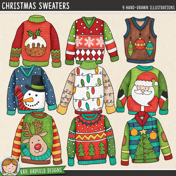 Ugly Christmas Sweaters digital scrapbook elements / fun Christmas jumpers clip art! Hand-drawn illustrations for digital scrapbooking, crafting and teaching resources from Kate Hadfield Designs.