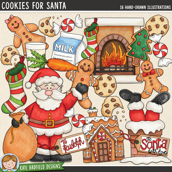 Cookies For Santa - Father Christmas  digital scrapbook elements / cute Christmas Eve clip art! Hand-drawn doodles for digital scrapbooking, crafting and teaching resources from Kate Hadfield Designs.