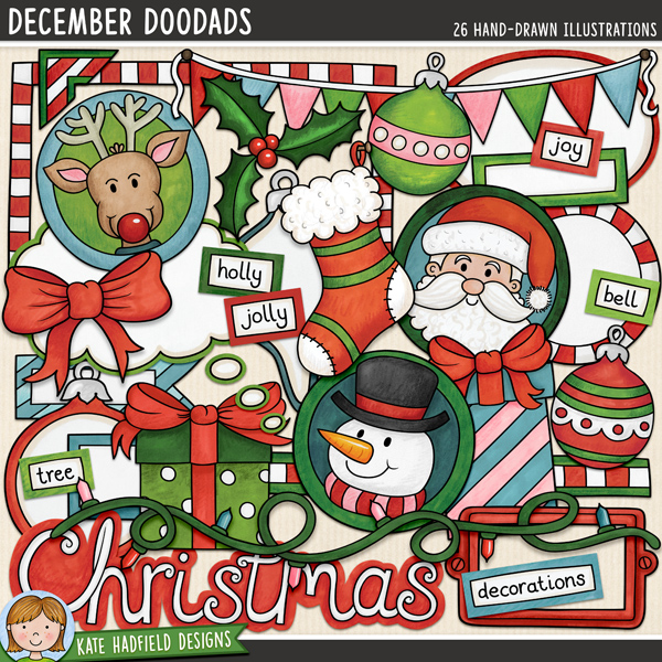 December Doodads - retro Christmas digital scrapbook elements / cute Christmas characters clip art! Hand-drawn doodles for digital scrapbooking, crafting and teaching resources from Kate Hadfield Designs. #digitalscrapbooking