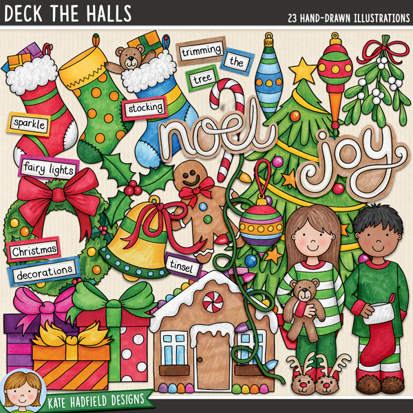 Deck the Halls - Christmas digital scrapbook elements / cute Christmas decorations clip art! Hand-drawn illustrations for digital scrapbooking, crafting and teaching resources from Kate Hadfield Designs.