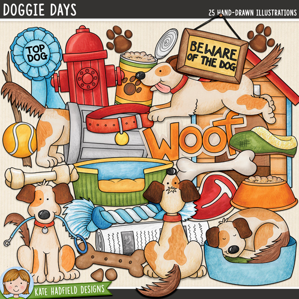 Doggie Days - Dog digital scrapbook elements / cute doggy and puppy clip art! Hand-drawn illustrations for digital scrapbooking, crafting and teaching resources from Kate Hadfield Designs.
