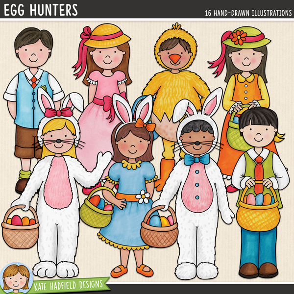 Egg Hunters - fun Easter kids digital scrapbook elements / cute Easter kids clip art! A set of 8 kiddos all dressed up in their Easter finery, ready to on an egg hunt! Hand-drawn illustrations for digital scrapbooking, crafting and teaching resources from Kate Hadfield Designs.