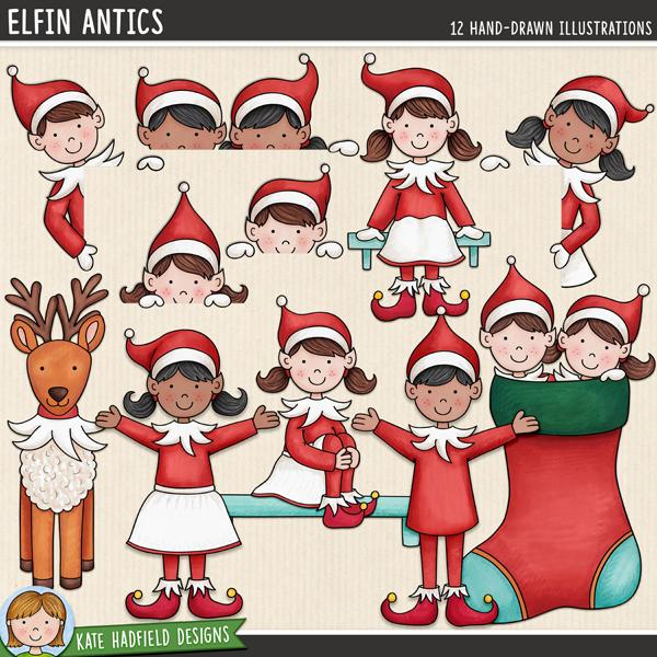 Elfin Antics - Christmas Elf digital scrapbook elements / cute elves clip art! Hand-drawn doodles for digital scrapbooking, crafting and teaching resources from Kate Hadfield Designs.