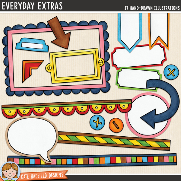 Everyday Extras - decorative details digital scrapbook elements / clip art! Hand-drawn doodles for digital scrapbooking, crafting and teaching resources from Kate Hadfield Designs.