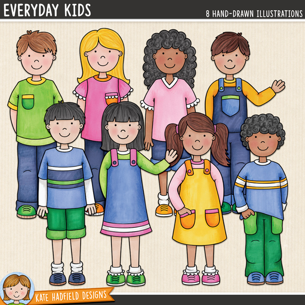 Everyday Kids digital scrapbooking elements / cute kids clip art! Hand-drawn illustrations for digital scrapbooking, crafting and teaching resources from Kate Hadfield Designs.