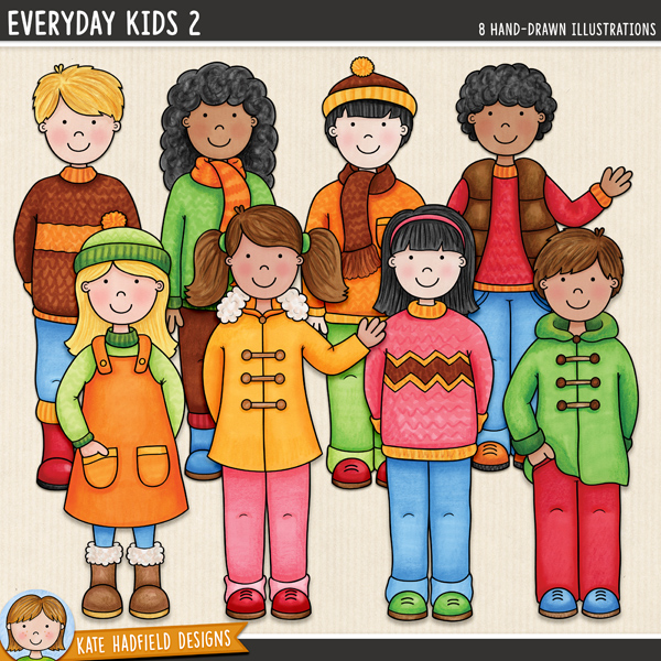 Everyday Kids 2 digital scrapbook elements / cute autumn kids clip art! Hand-drawn doodles and illustrations for digital scrapbooking, crafting and teaching resources from Kate Hadfield Designs.