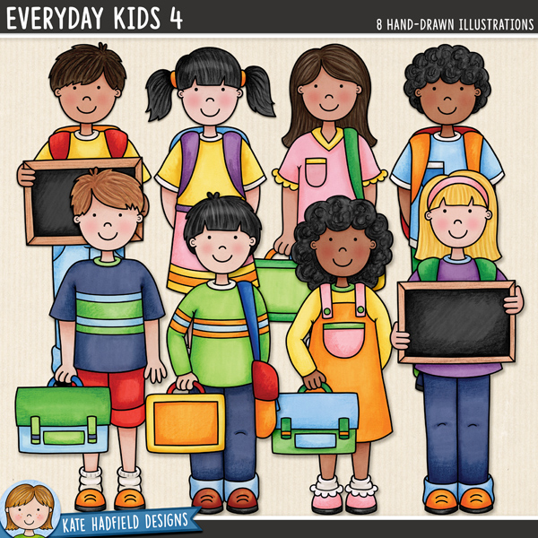 Everyday Kids 4 digital scrapbook elements / cute school kids clip art! Hand-drawn doodles and illustrations for digital scrapbooking, crafting and teaching resources from Kate Hadfield Designs.