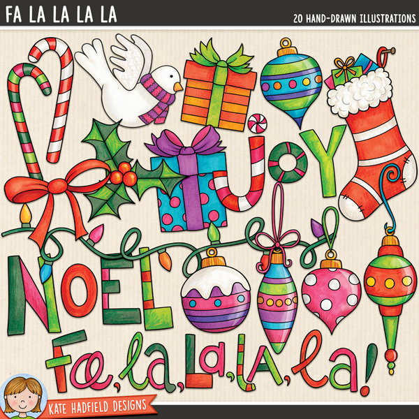 Fa La La La La - Christmas ornament digital scrapbook elements / cute holiday decorations clip art! Hand-drawn illustrations for digital scrapbooking, crafting and teaching resources from Kate Hadfield Designs.