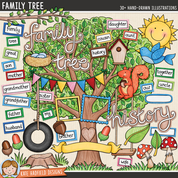 Family Tree digital scrapbook elements / cute tree clip art! Perfect for family heritage and genealogy projects! Hand-drawn doodles and illustrations for digital scrapbooking, crafting and teaching resources from Kate Hadfield Designs.