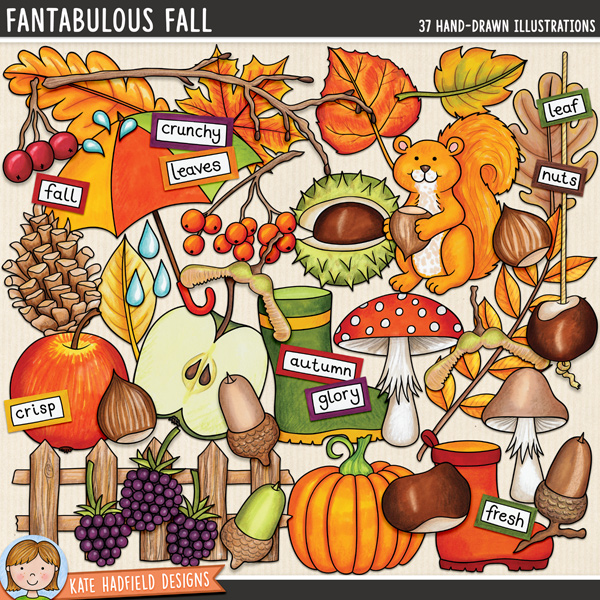 Fantabulous Fall digital scrapbook elements / cute autumn and fall clip art set! Hand-drawn doodles and illustrations for digital scrapbooking, crafting and teaching resources from Kate Hadfield Designs. #digiscrap #digitalscrapbooking