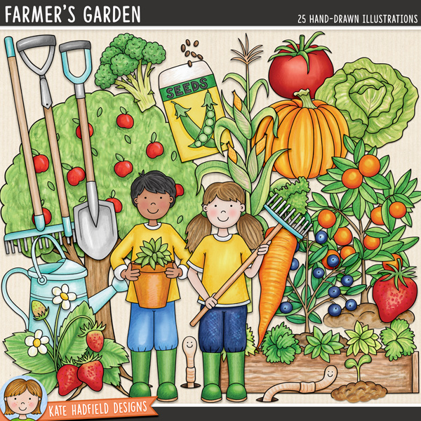 Farmer's Garden digital scrapbook elements / cute gardening clip art! Hand-drawn illustrations for digital scrapbooking, crafting and teaching resources from Kate Hadfield Designs.