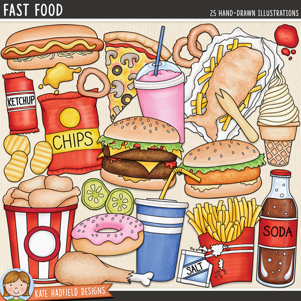 Junk food digital scrapbook elements / cute fast food clip art! A fun collection of burgers, hot dogs, pizza and other fast food illustrations! Hand-drawn doodles for digital scrapbooking, crafting and teaching resources from Kate Hadfield Designs.