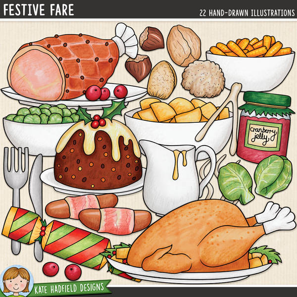 Festive Fare - Christmas food digital scrapbook elements / traditional Christmas dinner clip art! Hand-drawn illustrations for digital scrapbooking, crafting and teaching resources from Kate Hadfield Designs.