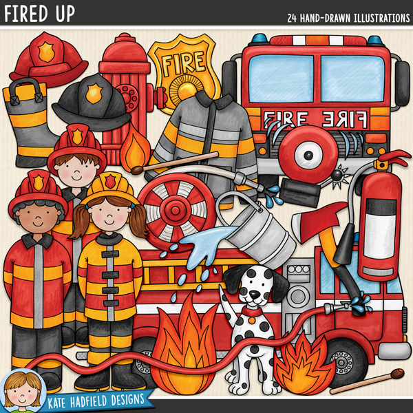 Fired Up - Firefighter digital scrapbook elements / cute fire safety clip art! Hand-drawn doodles and illustrations for digital scrapbooking, crafting and teaching resources from Kate Hadfield Designs.