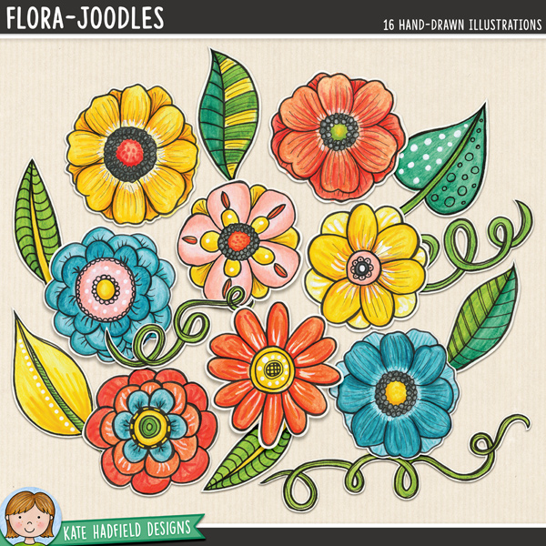 Flora Joodles - Mixed media digital scrapbook elements. These hand-painted flowers ideal for digital art journaling and mixed media projects. Hand-drawn illustrations for digital scrapbooking, crafting and teaching resources from Kate Hadfield Designs.