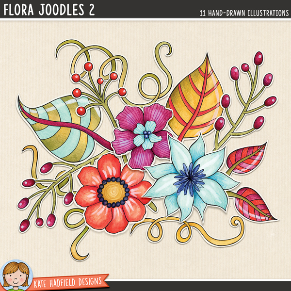 Flora Joodles 2 - Mixed media digital scrapbook elements / ideal for art journaling! Hand-drawn illustrations for digital scrapbooking, crafting and teaching resources from Kate Hadfield Designs.