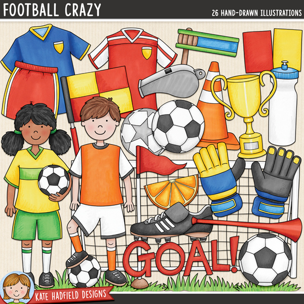 Football Crazy - soccer digital scrapbook elements / cute soccer kids clip art! Hand-drawn illustrations for digital scrapbooking, crafting and teaching resources from Kate Hadfield Designs.