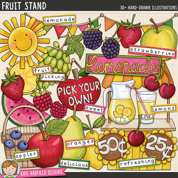 Fruit Stand - summer lemonade stand digital scrapbook elements / cute fruit clip art! Hand-drawn doodles and illustrations for digital scrapbooking, crafting and teaching resources from Kate Hadfield Designs. #digitalscrapbooking