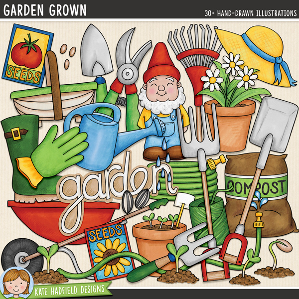 Garden Grown - gardening digital scrapbook elements / cute garden gnome clip art! Hand-drawn illustrations for digital scrapbooking, crafting and teaching resources from Kate Hadfield Designs.