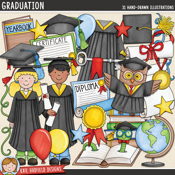Graduation digital scrapbook elements / cute graduate kids clip art! Hand-drawn doodles for digital scrapbooking, crafting and teaching resources from Kate Hadfield Designs.