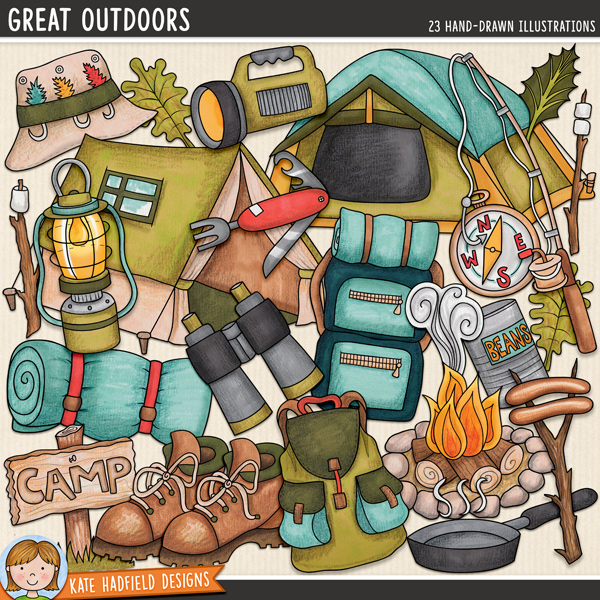 Great Outdoors - Camping digital scrapbook elements / cute outdoorsy clip art pack! Hand-drawn doodle illustrations for digital scrapbooking, crafting and teaching resources from Kate Hadfield Designs.