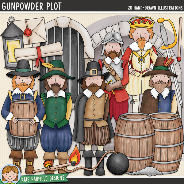 Gunpowder Plot - Bonfire / Guy Fawkes Night digital scrapbook elements / historical clip art pack! Hand-drawn doodles and illustrations for digital scrapbooking, crafting and teaching resources from Kate Hadfield Designs.