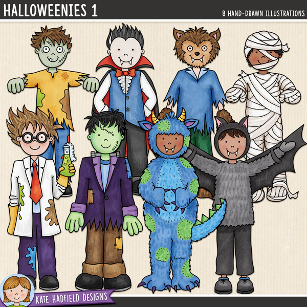Halloweenies 1 - a fun collection of Halloween kids in costume, all ready to go trick-or-treating! Halloween character digital scrapbook elements / cute  clip art! Hand-drawn doodles and illustrations for digital scrapbooking, crafting and teaching resources from Kate Hadfield Designs.