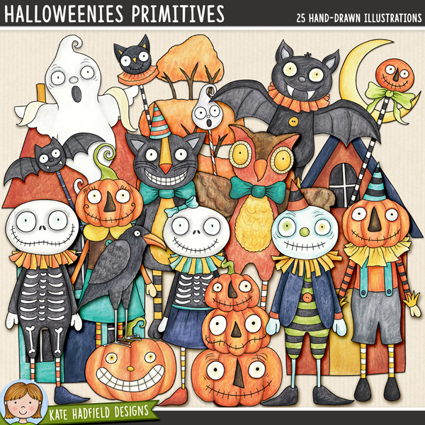 Halloweenies Primitives - a fun collection of folk art inspired Halloween characters! Hand-drawn digital scrapbook elements  and clip art for digital scrapbooking, crafting and teaching resources from Kate Hadfield Designs.