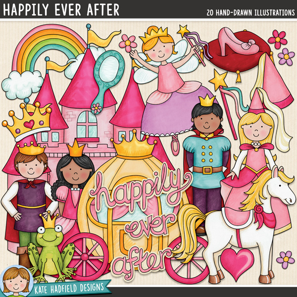 Happily Ever After - fairy tale digital scrapbook elements / cute princess clip art! Hand-drawn illustrations for digital scrapbooking, crafting and teaching resources from Kate Hadfield Designs. #digitalscrapbooking