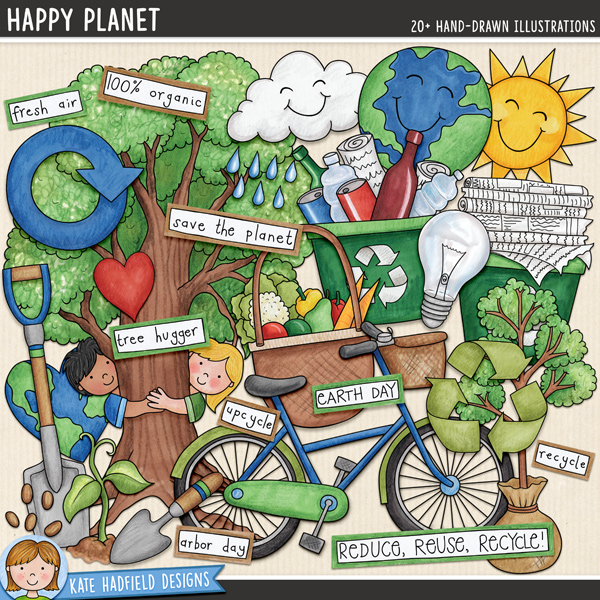 Happy Planet - Earth Day / recycling digital scrapbook elements and clip art! A fun collection of environmentally friendly doodles perfect for celebrating Earth Day, Arbor Day and any other 'green' events! Hand-drawn illustrations for digital scrapbooking, crafting and teaching resources from Kate Hadfield Designs.
