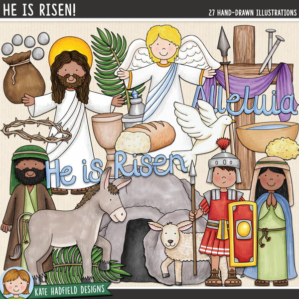He is Risen! - Easter story digital scrapbook kit / Easter clip art! Hand-drawn illustrations for digital scrapbooking, crafting and teaching resources from Kate Hadfield Designs.