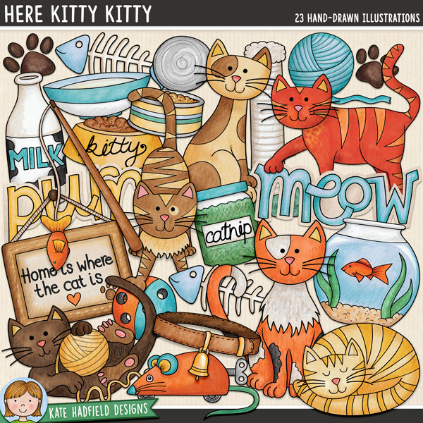 Here Kitty Kitty - cat and kitten digital scrapbook elements / cute kitty clip art! Hand-drawn illustrations for digital scrapbooking, crafting and teaching resources from Kate Hadfield Designs.