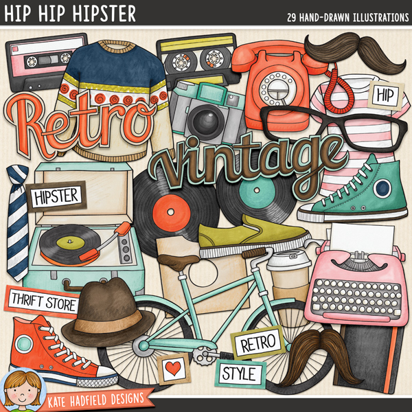 Hip Hip Hipster - retro hipster digital scrapbook elements / cute vintage clip art! Hand-drawn illustrations for digital scrapbooking, crafting and teaching resources from Kate Hadfield Designs.