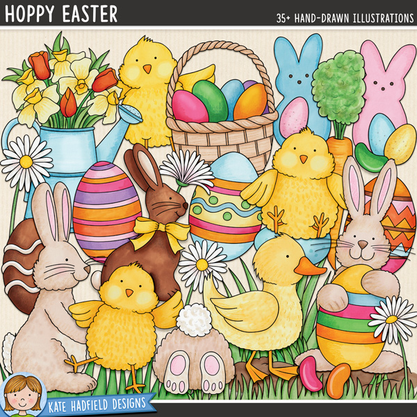 Hoppy Easter - Easter digital scrapbook elements / cute Easter egg hunt clip art! Hand-drawn clip art and line art for digital scrapbooking, crafting and teaching resources from Kate Hadfield Designs.