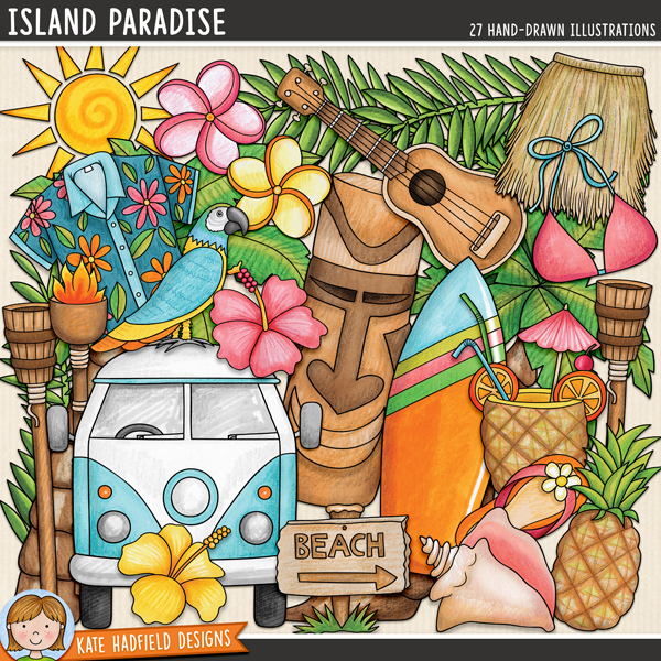 Island Paradise - tropical beach digital scrapbook elements / cute holiday and vacation clip art! Hand-drawn doodles and illustrations for digital scrapbooking, crafting and teaching resources from Kate Hadfield Designs. #digitalscrapbooking