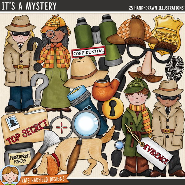 It's A Mystery - spy and detective digital scrapbook elements / cute detective kids clip art! Hand-drawn doodles and illustrations for digital scrapbooking, crafting and teaching resources from Kate Hadfield Designs.