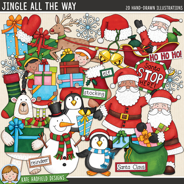 Jingle All The Way - Christmas characters digital scrapbook elements / cute Santa Christmas clip art! Hand-drawn illustrations for digital scrapbooking, crafting and teaching resources from Kate Hadfield Designs.