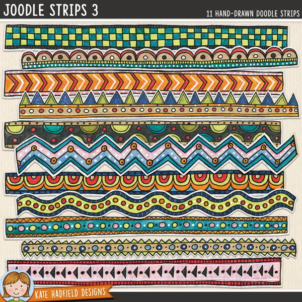 Joodle Strips 3 -  Mixed media digital scrapbook elements, ideal for art journaling! Hand-drawn illustrations for digital scrapbooking, crafting and teaching resources from Kate Hadfield Designs.