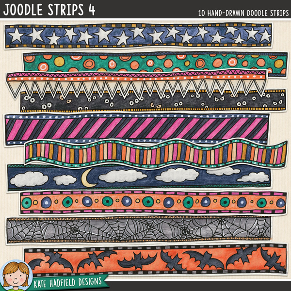 Joodle Strips 4 - Halloween mixed-media digital scrapbook elements. Hand-drawn doodles for digital scrapbooking, crafting and teaching resources from Kate Hadfield Designs.
