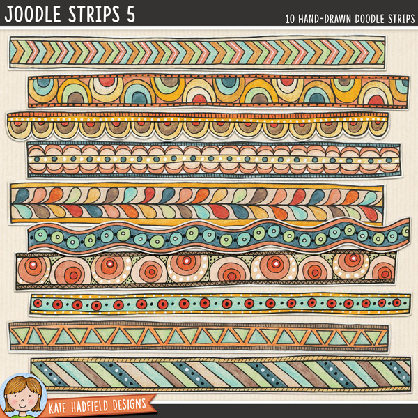 Joodle Strips 5 -  Mixed media digital scrapbook elements, ideal for art journaling! Hand-drawn illustrations for digital scrapbooking, crafting and teaching resources from Kate Hadfield Designs.