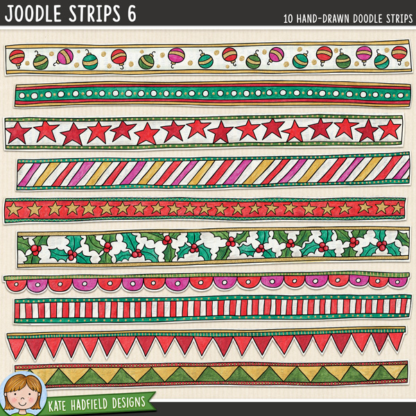 Joodle Strips 6 - Christmas mixed-media digital scrapbook elements. Hand-drawn doodles for digital scrapbooking, crafting and teaching resources from Kate Hadfield Designs.