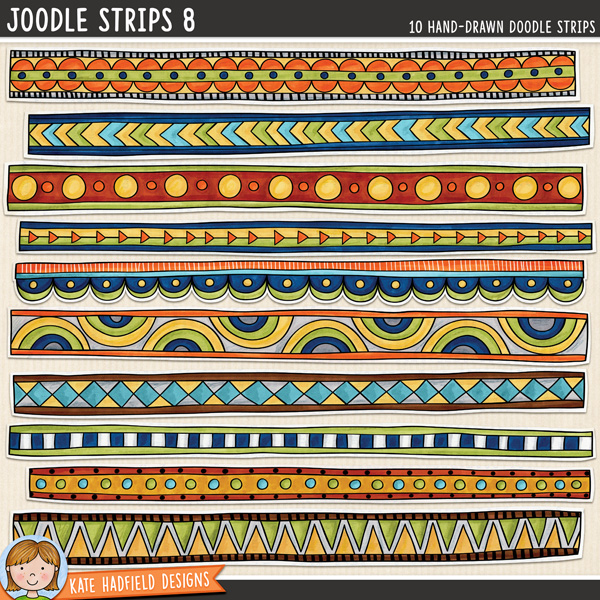 Joodle Strips 8 -  Mixed media digital scrapbook elements, ideal for art journaling! Hand-drawn illustrations for digital scrapbooking, crafting and teaching resources from Kate Hadfield Designs.