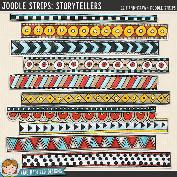 Joodle Strips Storytellers mixed media digital scrapbook elements, ideal for art journaling! Hand-drawn illustrations for digital scrapbooking, crafting and teaching resources from Kate Hadfield Designs.