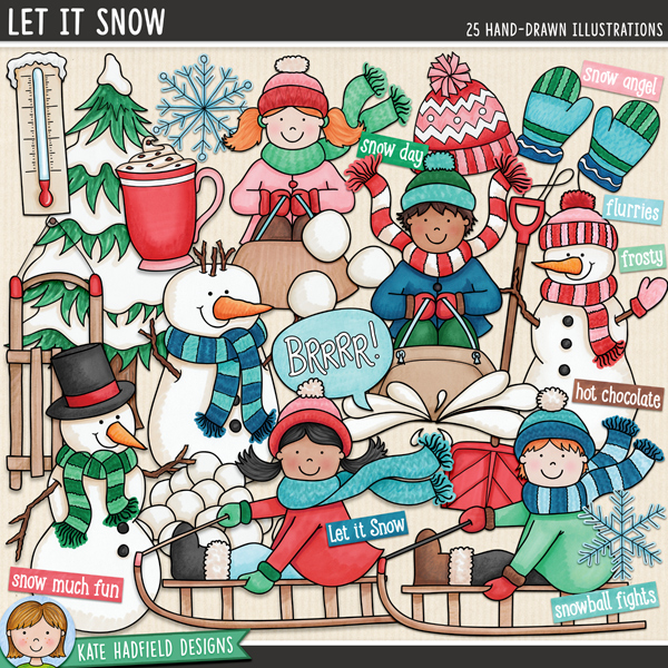 Let It Snow - Winter kids digital scrapbook elements / cute snowman clip art! Hand-drawn illustrations for digital scrapbooking, crafting and teaching resources from Kate Hadfield Designs.